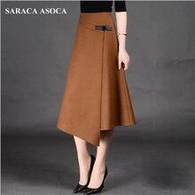 Осенне-зимняя официальная трапециевидная длинная юбка для девочек, подходящая ко всему размера плюс, однотонная нестандартная Женская юбка до середины икры