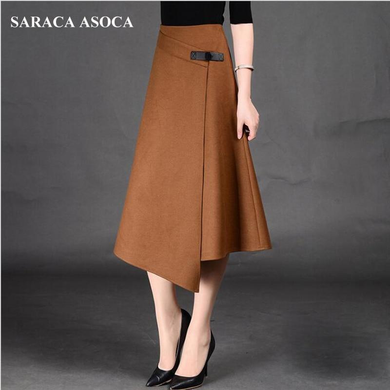 Autumn Winter Formal A-Line Long Skirt For Girls All-Match Plus Size Solid Mid-Calf Irregular Bust Skirt Women's