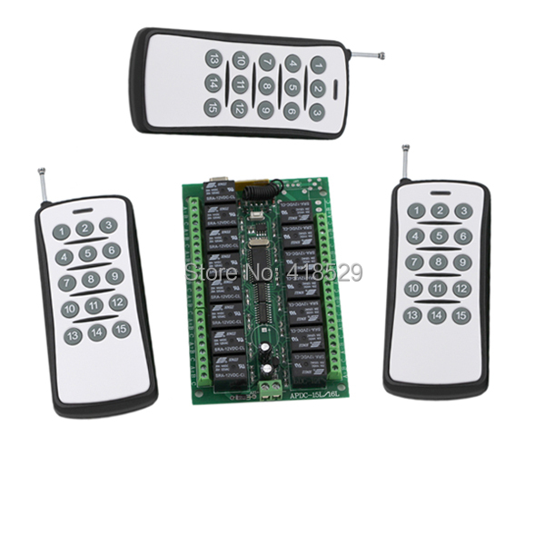 Smart Home 12V Wireless Remote Control Switch,15CH rf 315/433MHZ 3 transmitter and 1 recevier Radio smart home control dc24v remote control switch system1receiver