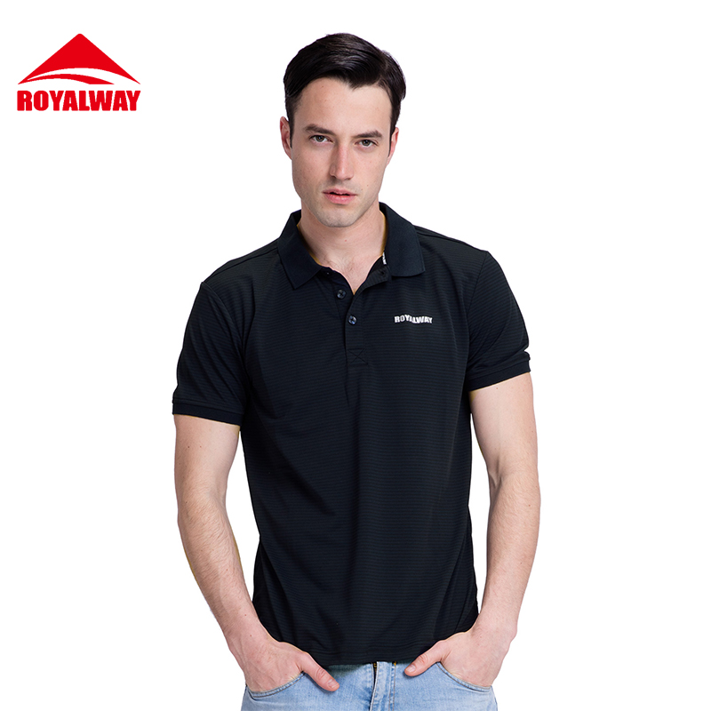 ROYALWAY Camping Hiking Men Tees Polos Outdoor T-Shirts Sports Golf Polo T-Shirt Quick Dry Breathable Polo#RFEM2002G