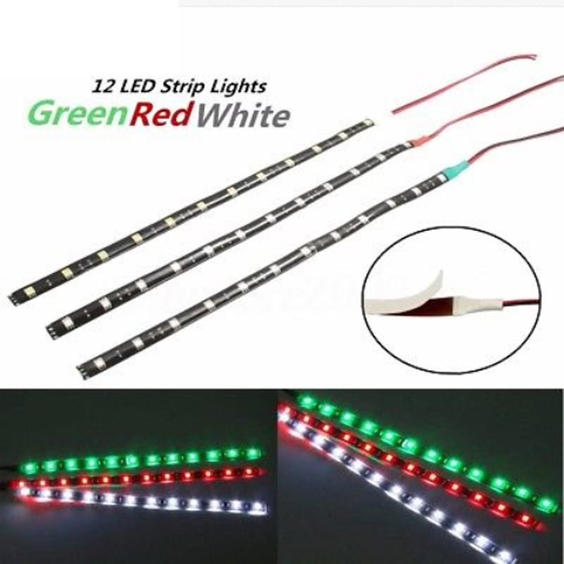 "3pcs 12"" Red & Green & White LED Navigation Strip Light"
