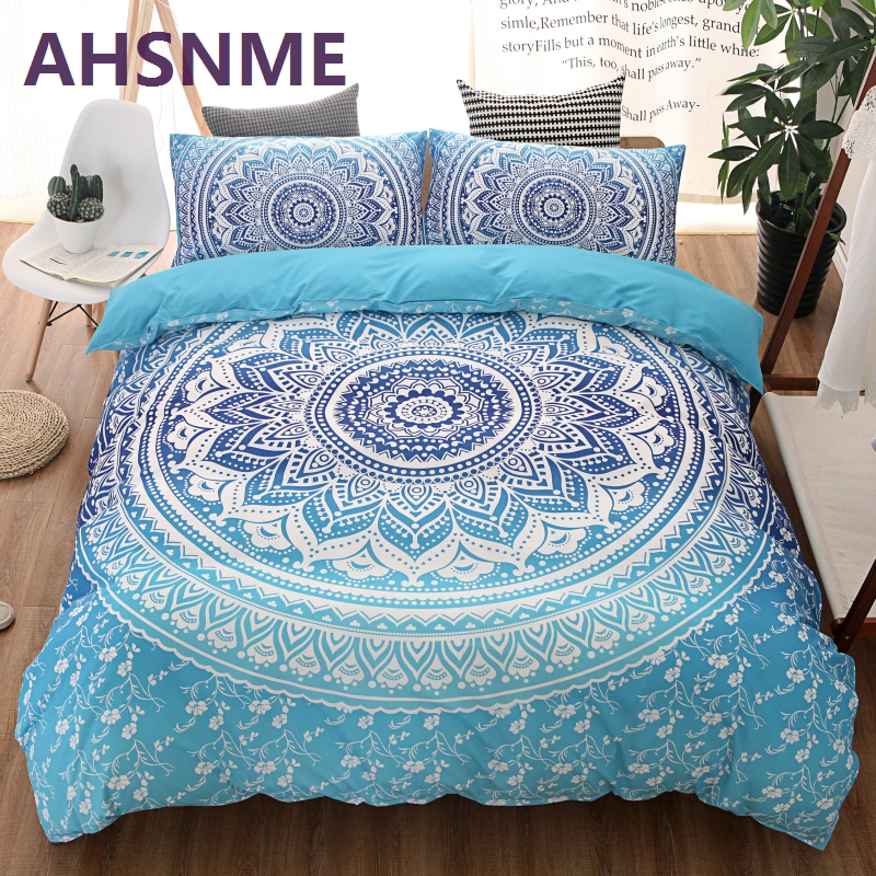 AHSNME (1pcs Bettbezug + 2Pcs Kissenbezug) Lila und Blau Bohemian Bettwäsche Set Bettwäsche Luxus Bettwäsche King Bettbezug Doona
