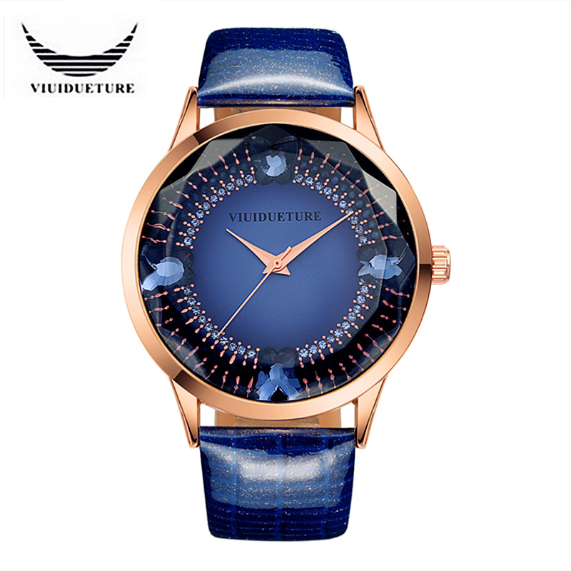 VIUIDUETURE New Original Fashion Brand Watch Women Rhinestones Big Dial Leather Ladies Quartz Watches Clock Relogio Feminino luxury big dial brand women watch vilam austria rhinestones miyota movement leather band quartz watch ladies clocks