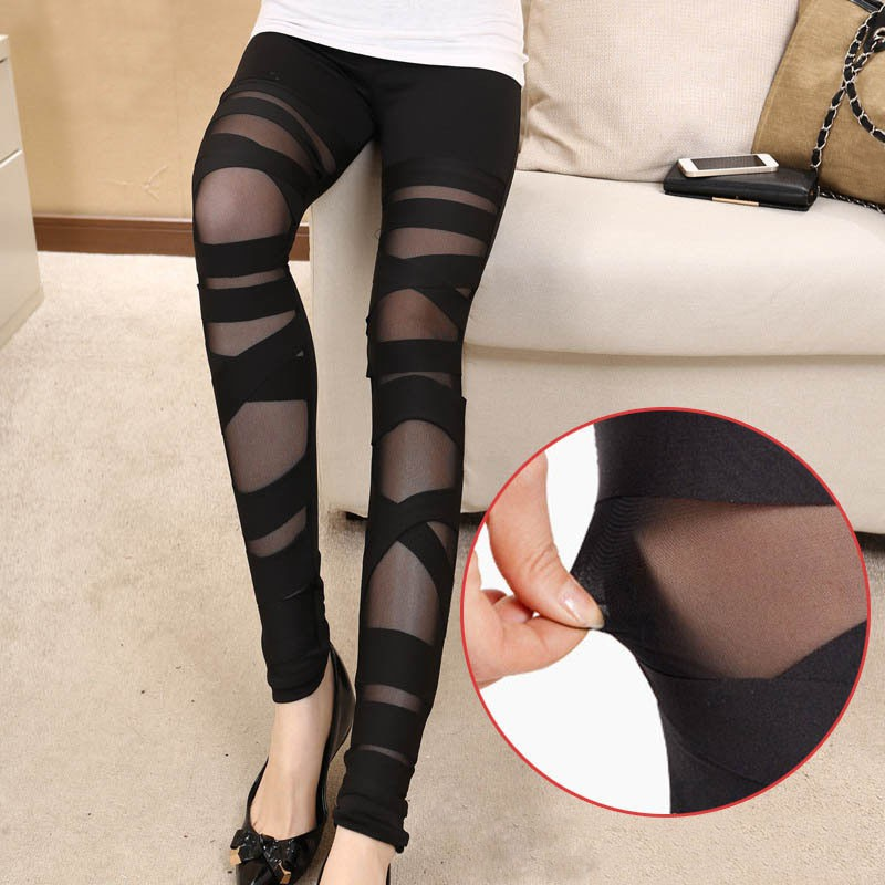 Fashion Women Slim Leggings Mesh Leggins Sexy   Legging Black Punk Rock Elastic Bandage Femme Full Pants