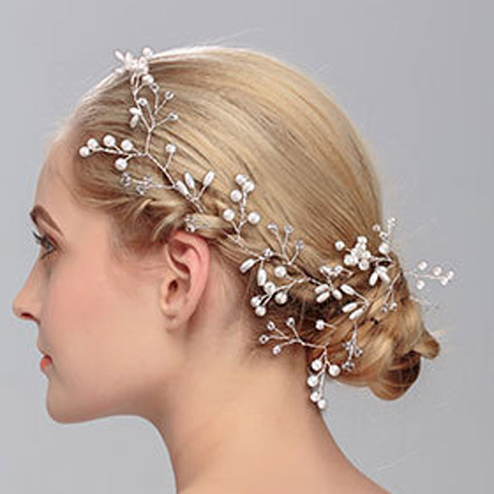 Fashion Women Silver Wedding Pearls Hairpins Crystal Vine Bridal Head Wear Hair Accessories Diamond Headpiece 2017 newly fashion tiara hairwear headpiece plastic flower hairdress wedding hair accessories head chain bridal hairwear ma064