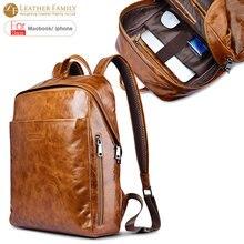 Para macbook laptop mochila bolsa universal aceite cera cuero genuino del zurriago de la vendimia cremallera mochilas a prueba de agua bolsa para ipad pro