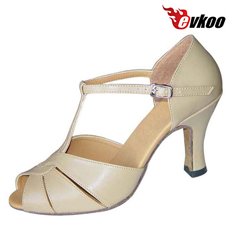 Evkoodance Salsa Latin Dance Shoes For Ladies 7cm 3.5cm Heel Pu Leather Comfortable Khaki Black Material Evkoo-057