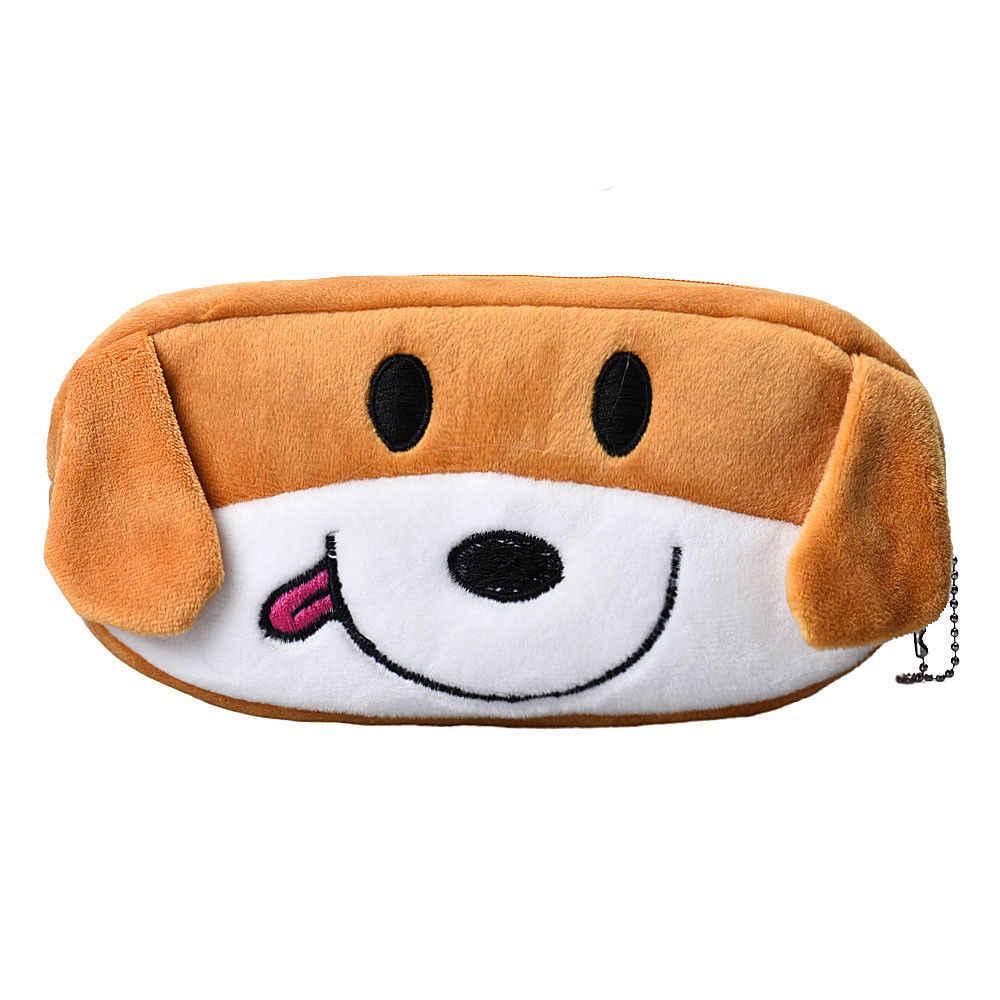 1 ADET Çocuklar Karikatür Köpek Kalem Kutusu Peluş Büyük Kalem Çantası Kozmetik Makyaj Karikatür saklama çantası
