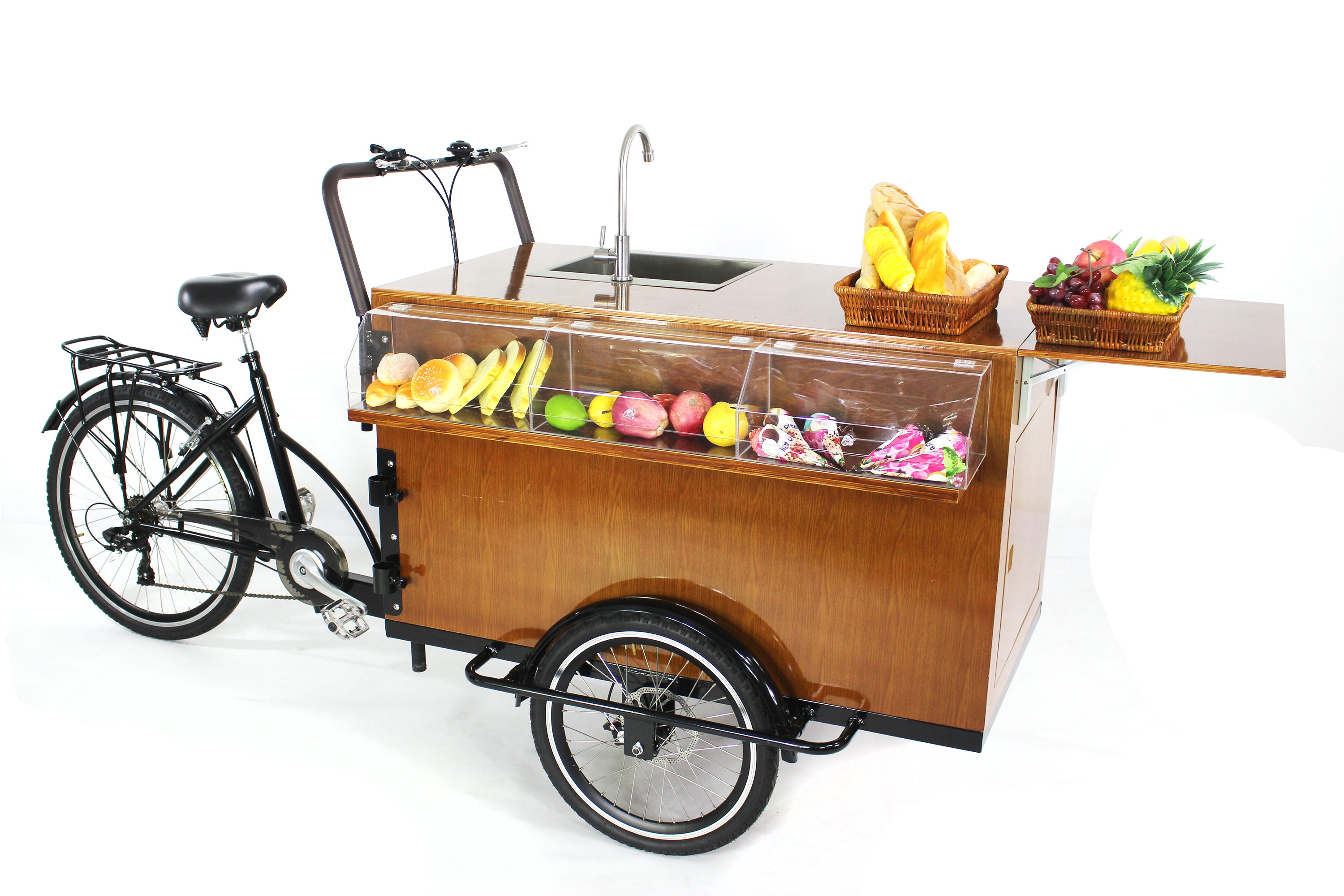 Convenient food tricycle pedal/electric mobile food cart bike food trailer coffee kiosk for sale