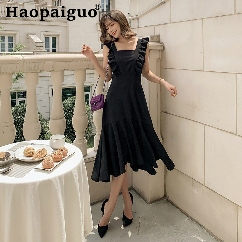 Plus Size 2019 Summer Korean Dress Women Sleeveless Ruffles Midi Ladies Dresses Square Collar Black Ropa Mujer