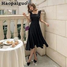 Plus Size 2019 Summer Korean Dress Women Sleeveless Ruffles Midi Ladies Dresses Square Collar Black Ropa Mujer