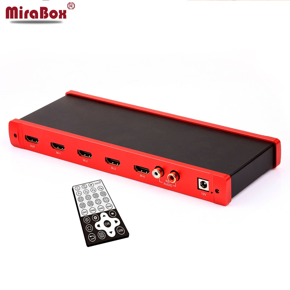MiraBox 4X1 HDMI Multi-viewer HDMI Quad Screen Real Time Multiviewer with HDMI seamless Switcher 1080p HD IR HDMI Switch цена