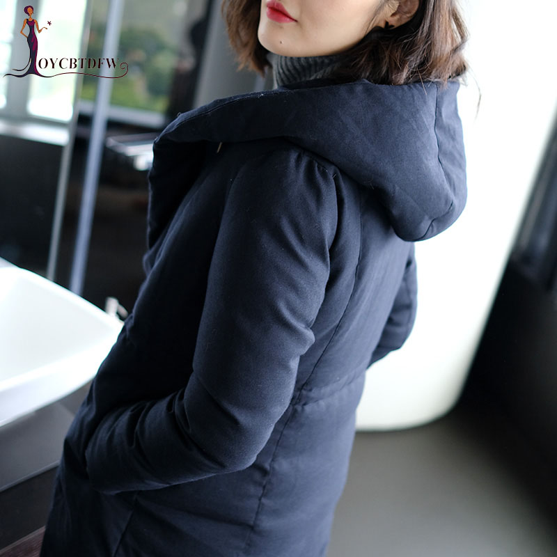 Winter women down coat 2018 new fashion solid color ladies outerwear mid long High-end hooded Simple warm female down coat ll747