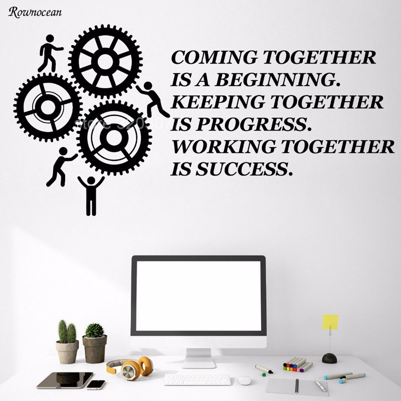 Gears Stickers Murals Creative Office Motivation Vinyl Wall Decals Quotes Teamwork Quote Wall Sticker Decor Removable Mural H549