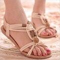 Moda verão Flip Flops Praia Sandálias Corda Do Grânulo Preto Elásticos das Mulheres Flat Shoes Gladiador Sandalias Mujer para As Mulheres