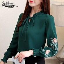 Размер Плюс женские топы Цветочная шифоновая блуза с вышивкой рубашка Модные женские топы и блузки длинный рукав рубашка женская 1645 50