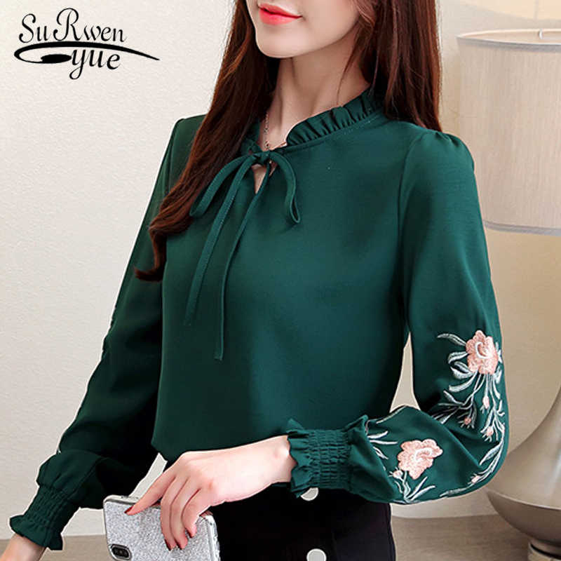 размер Плюс женские топы Цветочная шифоновая блуза с вышивкой рубашка Модные женские топы и блузки 2019 длинный рукав рубашка женская 1645 50