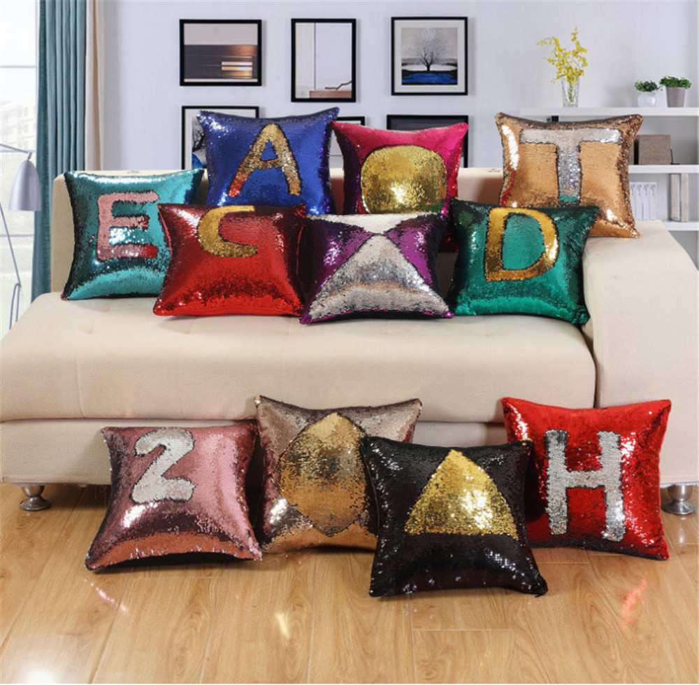 DIY Mermaid Sequins Cushion Cover Magical Colorful Throw Pillow Case Two Color Changing Reversible Cushion Cover
