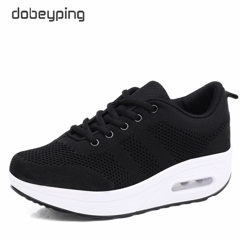 Image 2 - 2018 New Spring Summer Casual Shoes Woman Breathable Mesh Women Loafers Platform Womans Sneakers Lace Up Ladies Flats Shoeladies flats shoesflats shoesloafer platform -