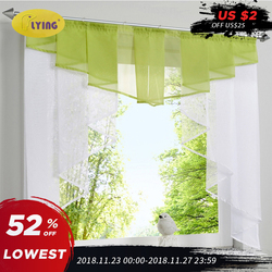 Flying Tulle Kitchen Curtain For Window Balcony Rome Pleated Design Stitching Colors Voile Sheer Drape White Yarn Curtains Short