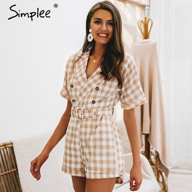 Simplee V neck short sleeve plaid women playsuit Elegant casual streetwear summer jumpsuit romper Sash belt ladies overalls 2019