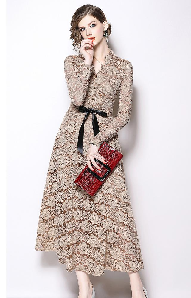 Solide évidé dentelle robe 2018 automne hiver longue robe femmes v-cou à manches longues élégantes robes Vintage Vestidos Mujer - 5