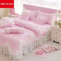 Розовый/фиолетовый/синий жаккард принцесса постельных принадлежностей 4 шт. шелковые кружева оборками пододеяльник покрывало кровать юбка