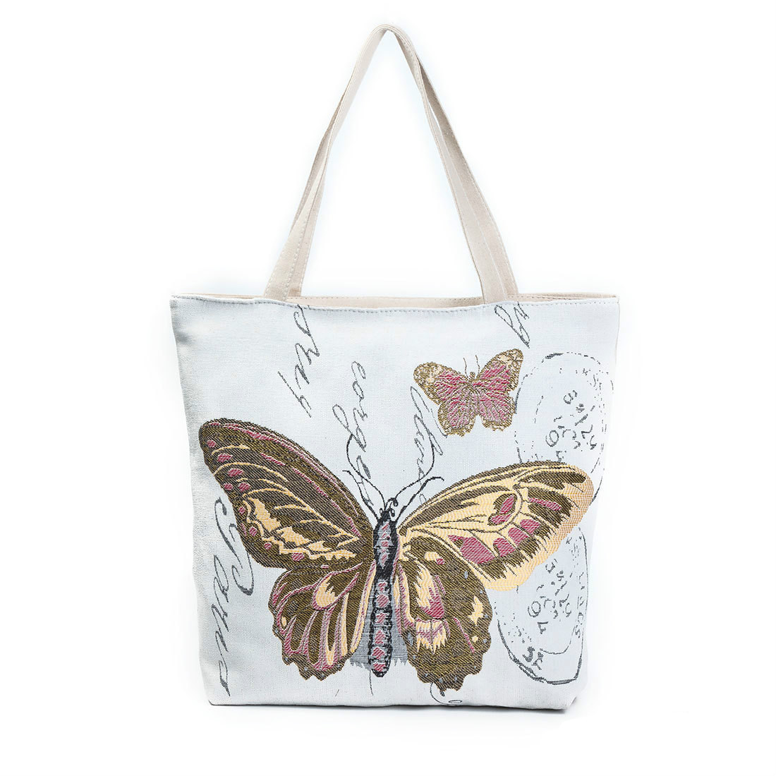 Butterfly Printed Shoulder Bag Large Capacity Casual Tote Bags Women Daily Use Shopping Bag Canvas Handbag