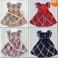 ( CZ1022 ) Classic Plaid imprimir muchacha de la princesa vestidos del Bowknot de la cintura del bebé niñas vestido de verano 100% algodón niños del envío gratis 2015