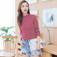 Blusas Femme Camisas Femininas Manga Longa 2017 Korean Fashion Knitted Cotton Turtleneck Striped Blouse Long Sleeve