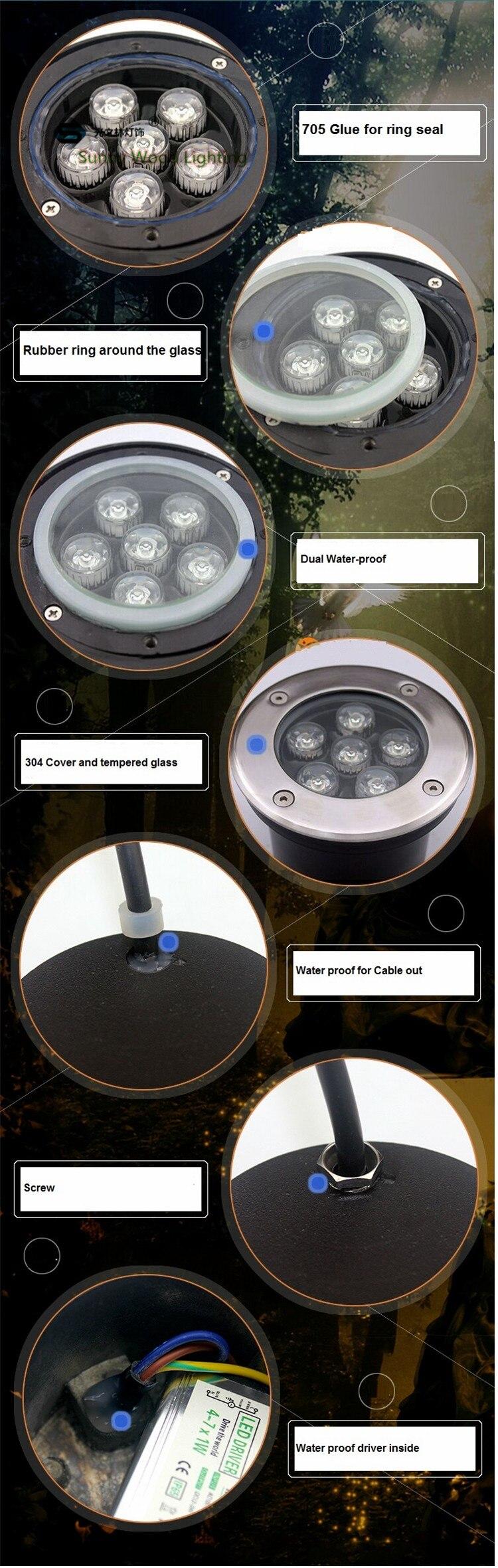 9 w inground luz, IP68 construído em