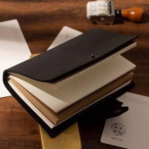 Image 4 - Пустые Дневники, дневники, дневники, рабочая книга A6, чехол из натуральной кожи, личный планировщик, блокнот, серый, черный, коричневый, блокнот для путешествий