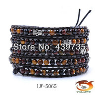 Free Shipping hot sell leather multi handmade Tiger stone and skull charm bracelet adjustable LW-5065