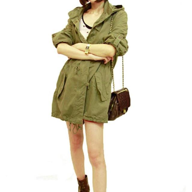 Nuevas Mujeres Calientes Del Invierno Del Ejército Verde Militar Parka Con Capucha Trench Coat Jacket