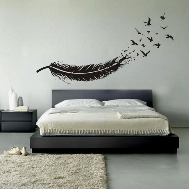 Abstract Feather Into Birds Vinyl Wall Decal Custom Your Color - Vinyl wall decals custom