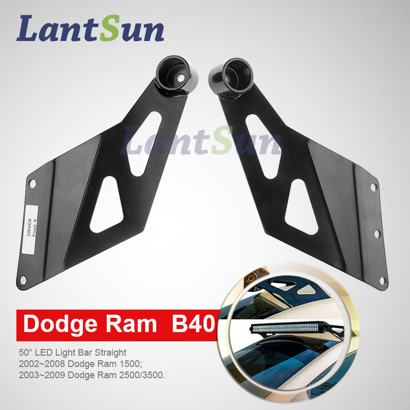 one set 50 inch straight led light bar roof bracket for dodge ram 1500 2500/3500-in Car Light ...