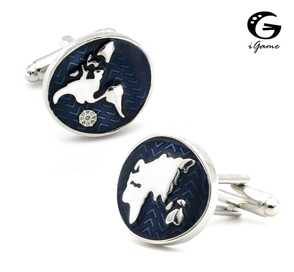 IGame New Nautical Map Cuff Links Blue Color World Map Design Quality Brass Material Shirt Cuflinks For Men Free Shipping