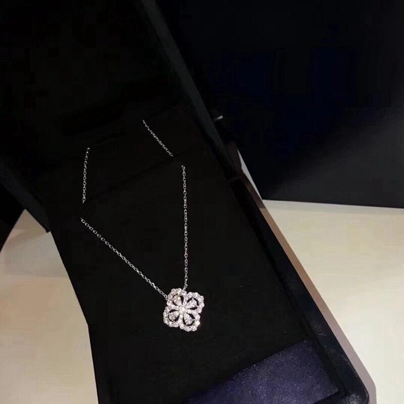 AAA Zircon 925 Sterling Silver Four Leaves Clover Stud Earring + Collar Necklace Jewelry Set Brand Women Wedding Jewelry Set