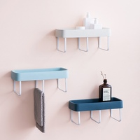 Self Adhesive Plastic Bathroom Shelf With Three Towel Bars Wall Mounted Shower Storage Kitchen Spice Organizer