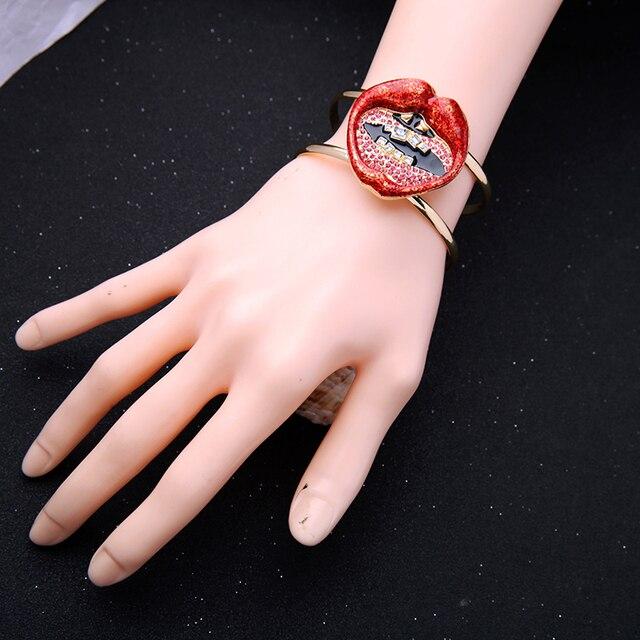 Rouge émail cristal lèvre ouvert Bracelet 2019 Bracelet de manchette à la mode pour les femmes bijoux de mode