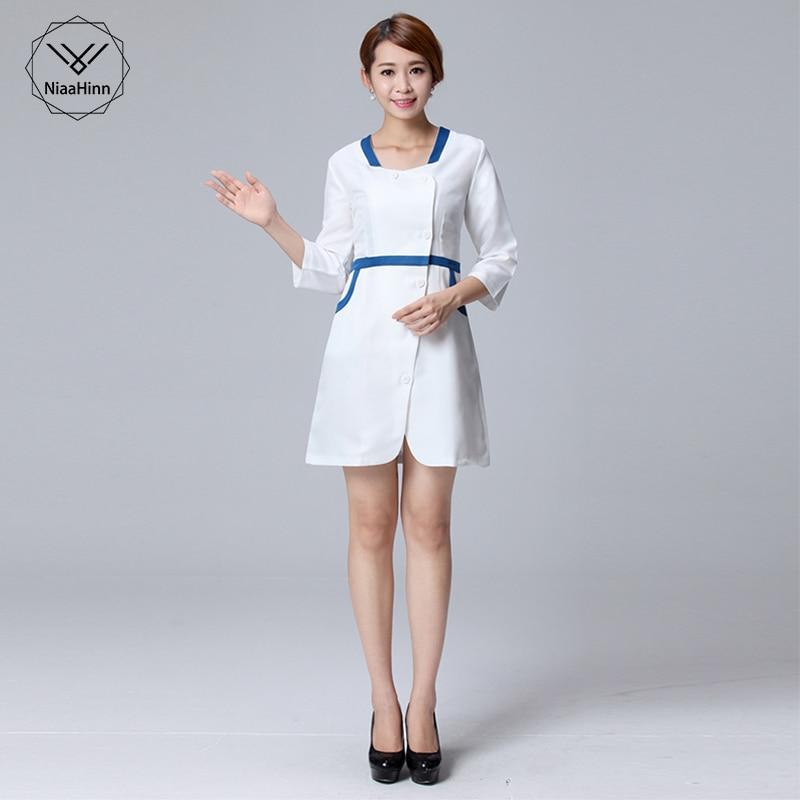 Medical Robes Nurses Wear Lab Coats Beauty Salon Overalls Autumn And Winter Wear Large Size New Dress Korean Temperament Slim
