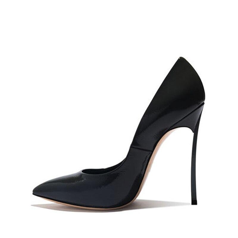 WETKIS Ungewöhnliche Heesl Frauen Pumpen Spitz Slip Auf Flachen Schuhe Patent Pu Pumpen Partei Schuhe Frau Herbst 2019 neue-in Damenpumps aus Schuhe bei  Gruppe 3