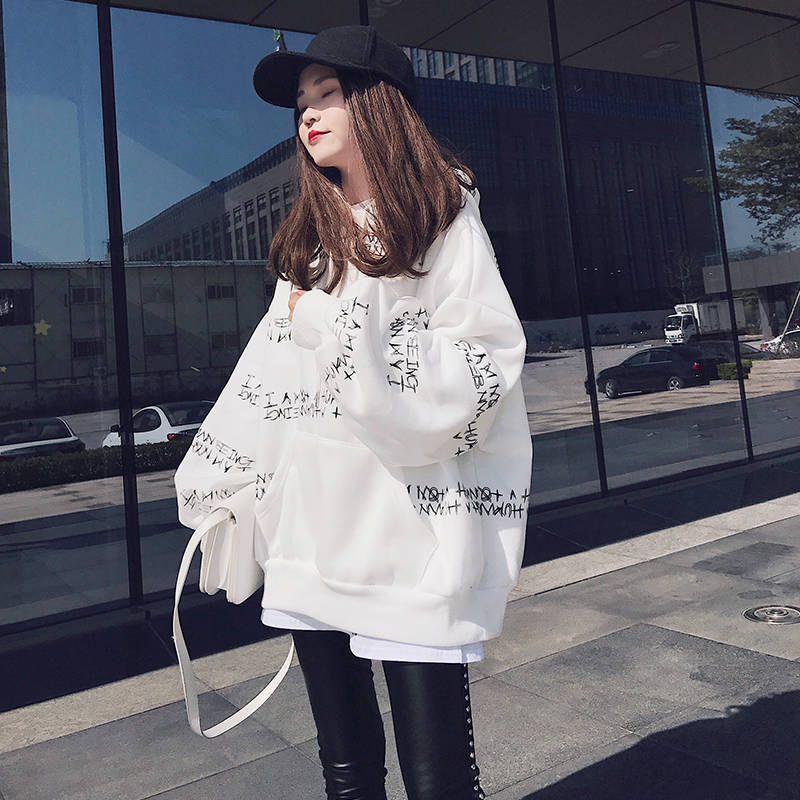 2019 Harajuku Letter Print Hoodie Sweatshirt Spring Korea Women Kawaii Loose Long Sleeves Tops Hip Hop Oversized Hoodies Coats