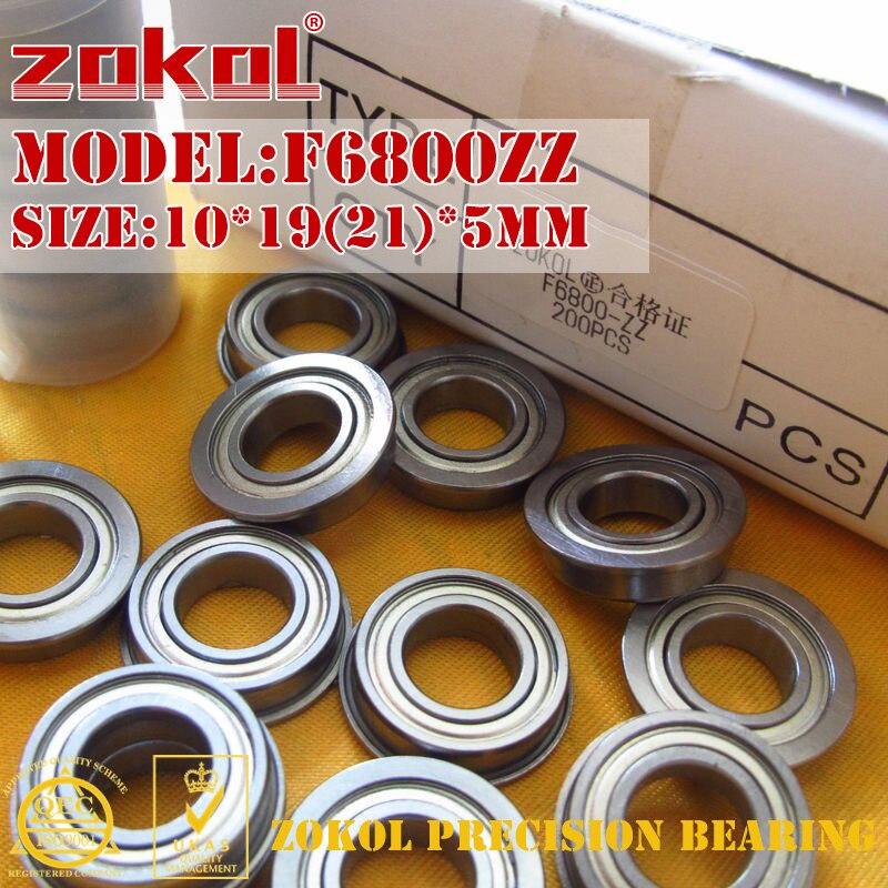 ZOKOL F6800 ZZ Bearing F6800ZZ Flange Bearing F6800-ZZ Deep Groove Ball Bearing 10*19(21)*5mm
