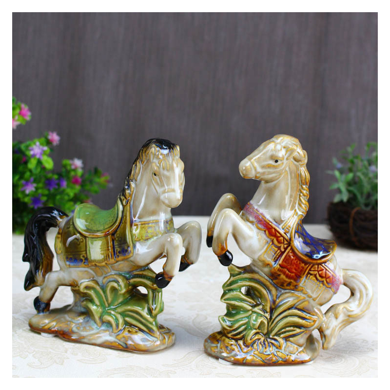 Europe Vintage Ceramic Horse Ornament Figurine Crafts Prancing Horse Home Decoration Accessories Creative Business Wedding Gifts
