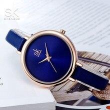 Shengke 2017 Для женщин Часы роскошные дамы наручные часы синяя тонкий кожаный ремешок кварцевые часы высокая стоимость эффективного Montre Femme