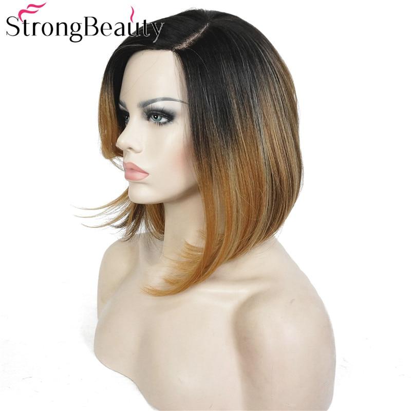 StrongBeauty Bob Lace Wig Συνθετικές Straight Ombre - Συνθετικά μαλλιά - Φωτογραφία 4