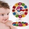 O Envio gratuito de New Madeira 12 Número Colorido Enigma Brinquedo Do Bebê Relógio de Brinquedo Do Brinquedo Do Bebê Crianças Educacionais Tijolos Brinquedos Para Crianças Presentes
