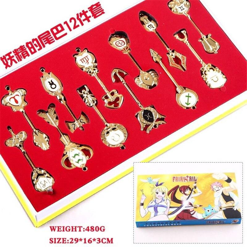 12 Pcs Fairy Tail Lucy Chiavi Set Ariete Toro gemelli Portachiavi Anime Cosplay Della Collana Del Pendente 9 centimetri Celestrial Giocattolo