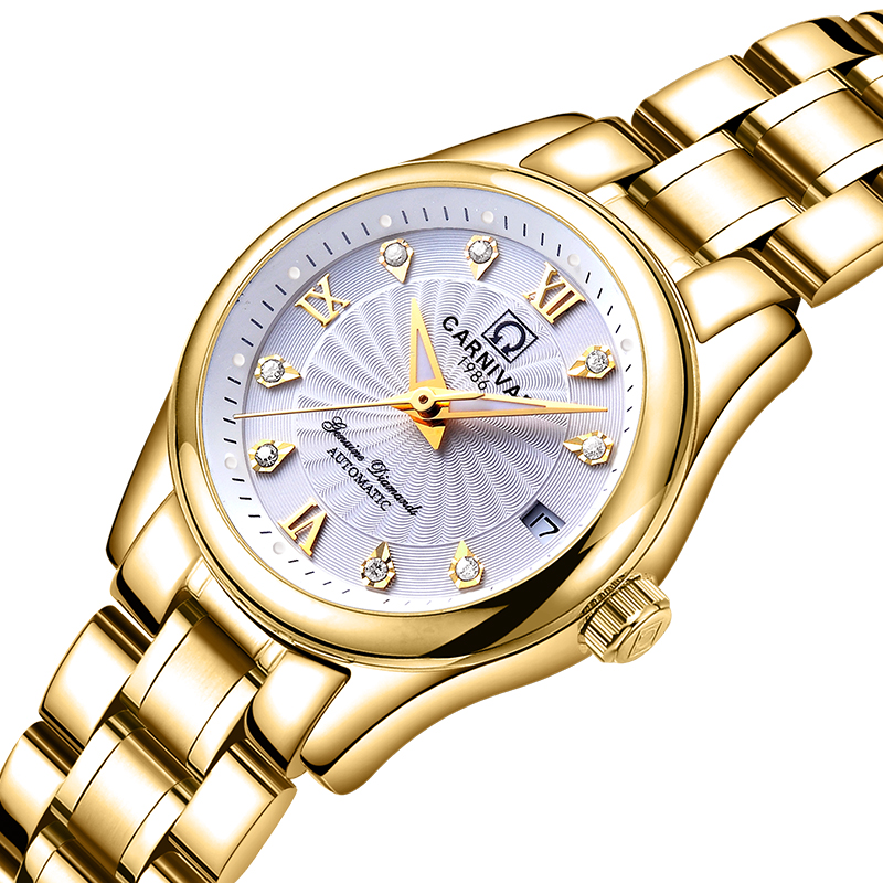 Carnival Women Watches Luxury Brand ladies Automatic Mechanical Watch Women Sapphire Waterproof relogio feminino C-8830-5 2017 carnival luxury brand mechanical watch women leather bracelet waterproof sapphire mirror stainless steel automatic watches